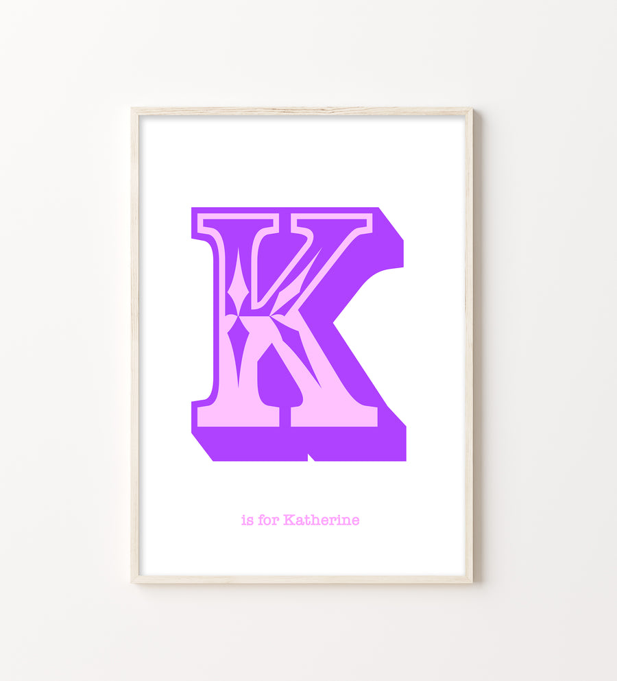 Western Purple Letter K Print-Art-Little Fish Co.