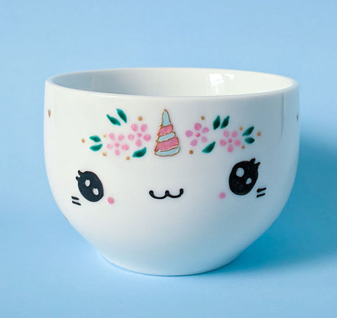 Coffee bowl - Unicorn and flowers