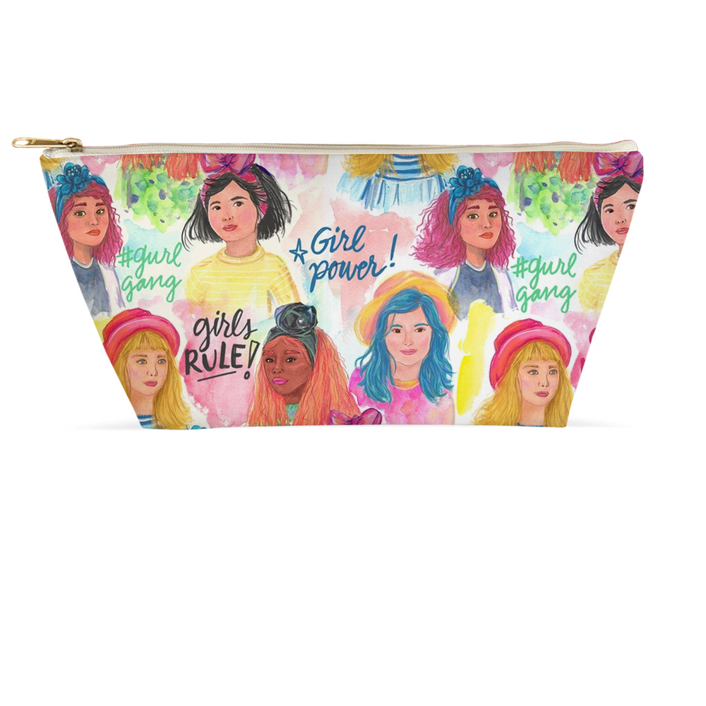 "Load image into Gallery viewer, T-Bottom Zipper Accessory Pouch - ""Girl Power"" Design (2 sizes)"