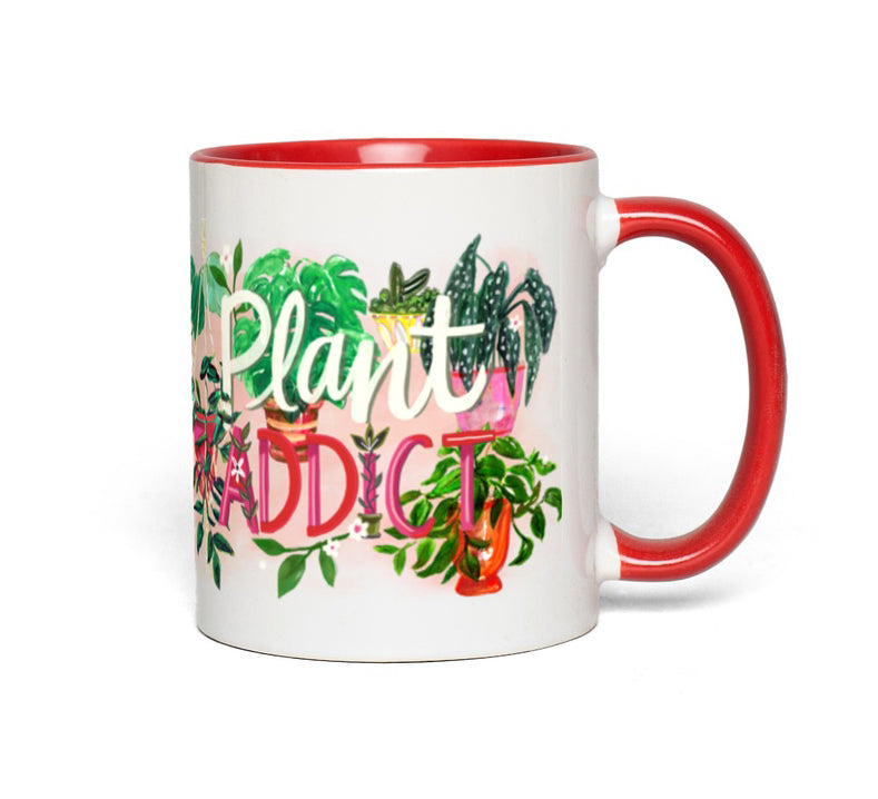 """Plant Addict"" Mug  with Accent Color"
