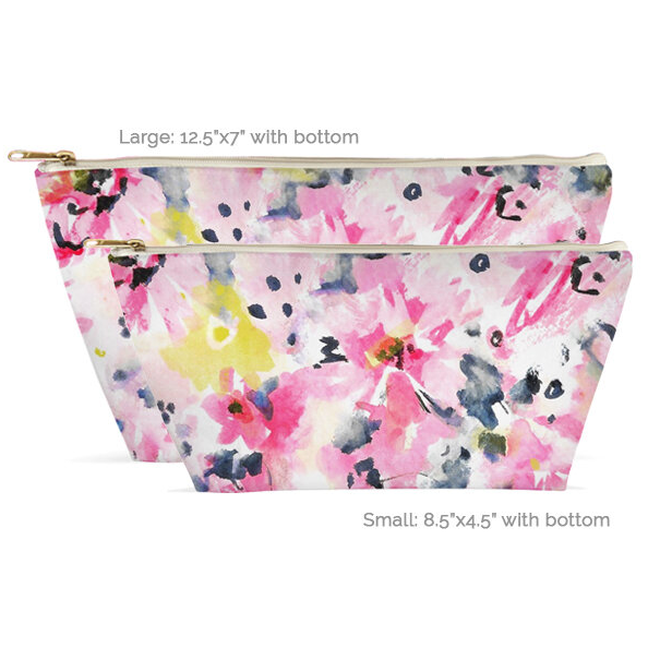 T-Bottom Zipper Accessory Pouch - Watercolor Floral Design (2 sizes)