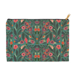 "Zipper Accessory Pouch in ""Teal Floral"" (2 sizes)"