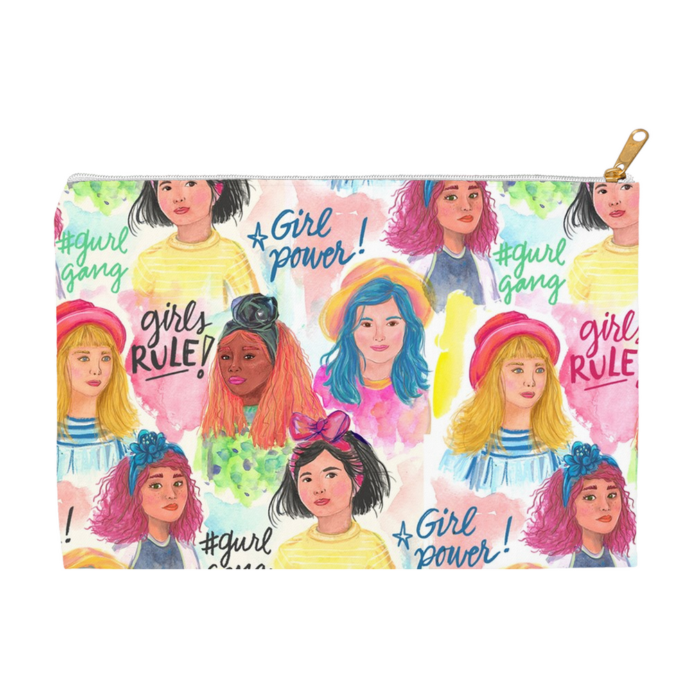 "Zipper Accessory Pouch in ""Girl Power"" Design (2 sizes)"