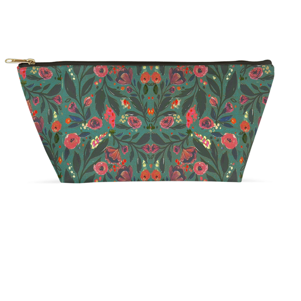 T-Bottom Zipper Accessory Pouch - Teal Floral Design (2 sizes)