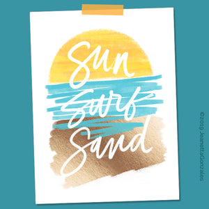 "Load image into Gallery viewer, ""Sun Surf Sand"" 8x10 Art Print"