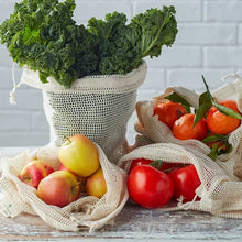Load image into Gallery viewer, Organic Produce Bags & Bread Bag - 3 Pack Organic Produce Bags & Bread Bag