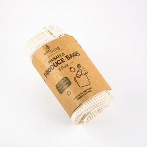 Organic Produce Bags & Bread Bag - 3 Pack Organic Produce Bags & Bread Bag