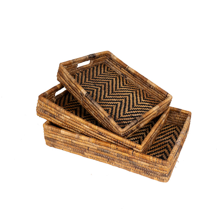 Banana Leaf Nesting Tray Set - Chevron Interior