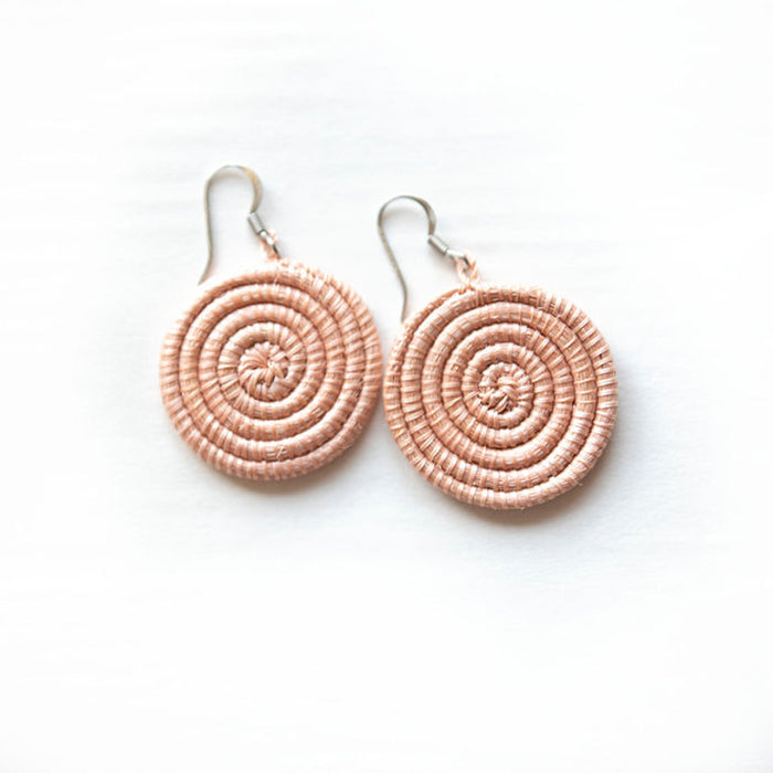 Woven Disc Earrings [Small] - Blush