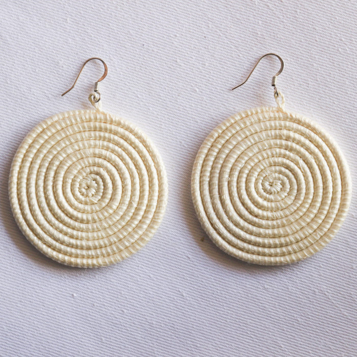 Woven Disc Earrings [Large] - White