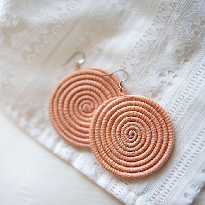 Woven Disc Earrings [Large] - Blush