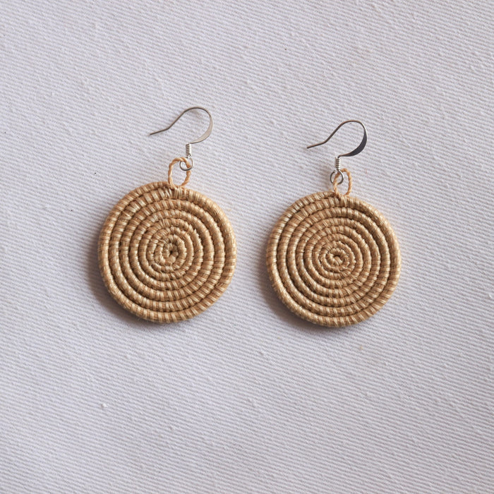 Woven Disc Earrings [Small] - Tea