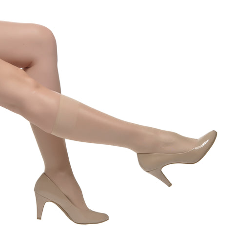 Semi Sheer 30 Den, Silk Reflections, Reinforced Toe KneeHigh