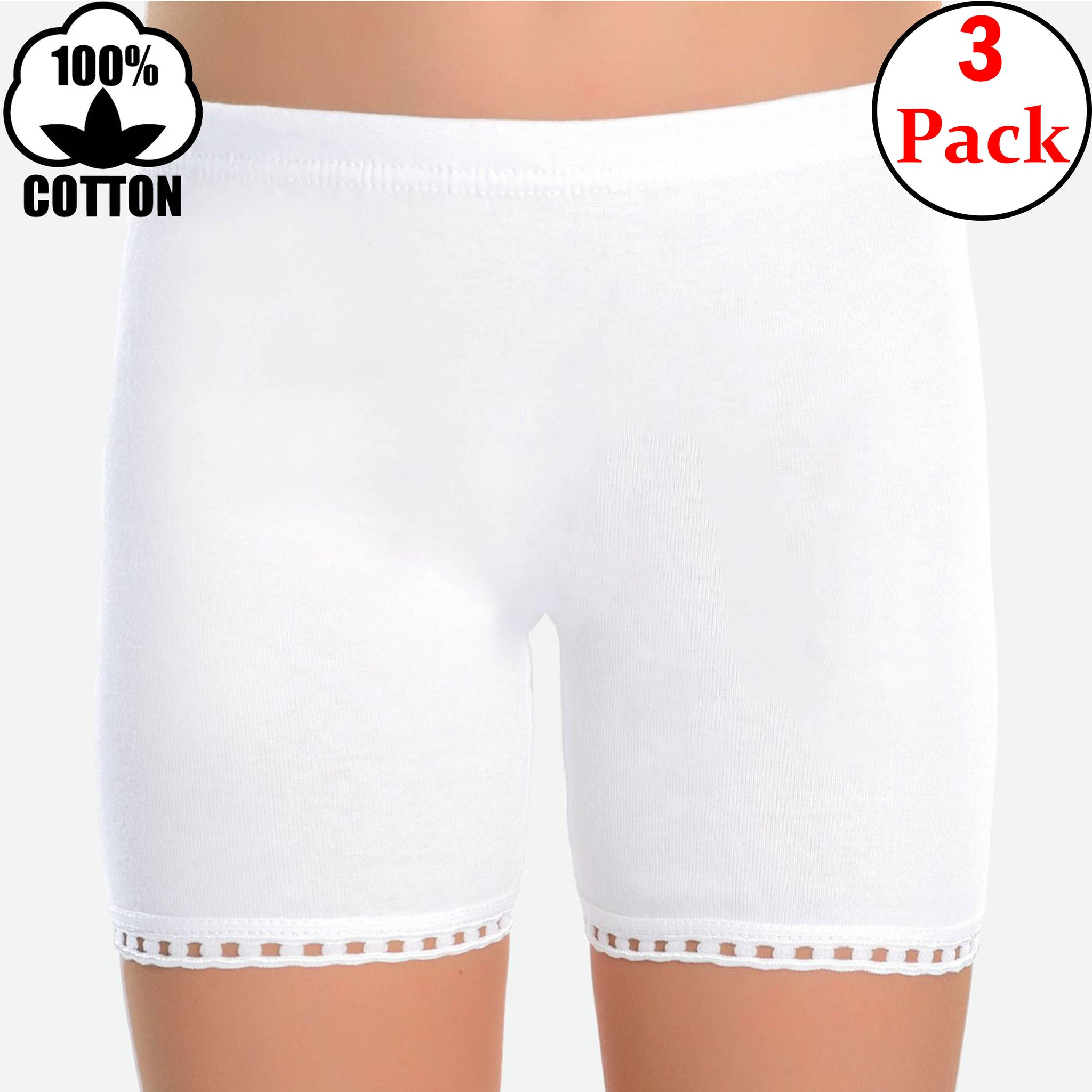 100% Cotton Rib Girls' Dantel Boxer Briefs