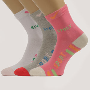3-Pack Women Crew Patterned, Sport Cotton socks