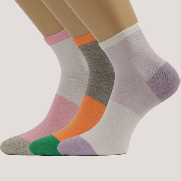 3-Pack Women Crew Patterned Sport Cotton socks