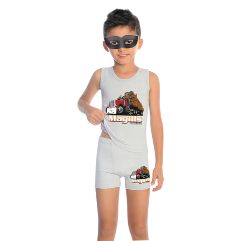 96% Cotton 4% Elastane Tank Top Boys' Pajama Short Set M2