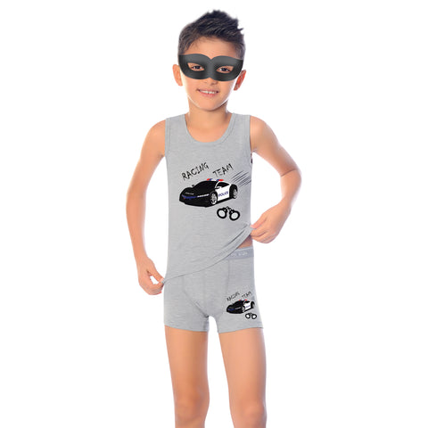 96% Cotton 4% Elastane Tank Top Boys' Pajama Short Set M1