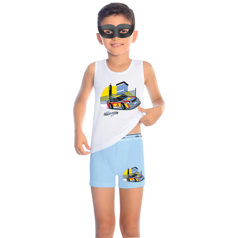 96% Cotton 4% Elastane Tank Top Boys' Pajama Short Set M3