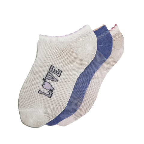3-Pack Girls, No Show, Patterned Sport Cotton socks