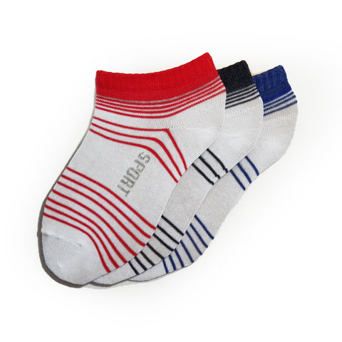 3-Pack, No-Show Patterned Sport Cotton, socks