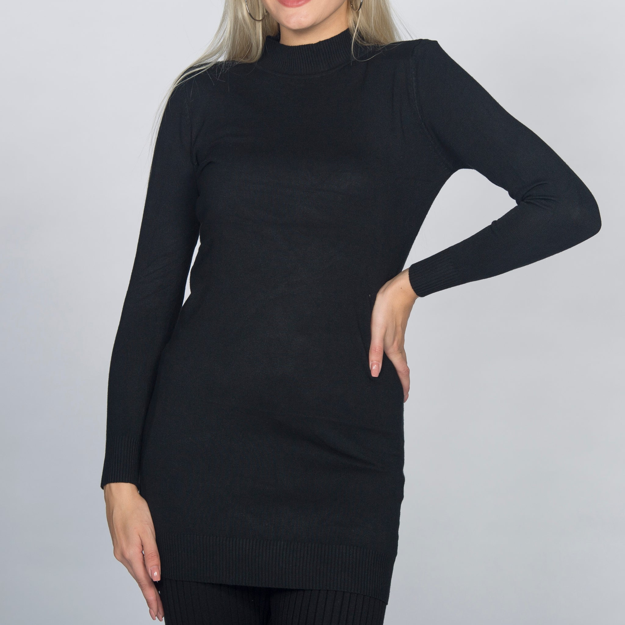High Neck Long Sleeve Body Dress Top