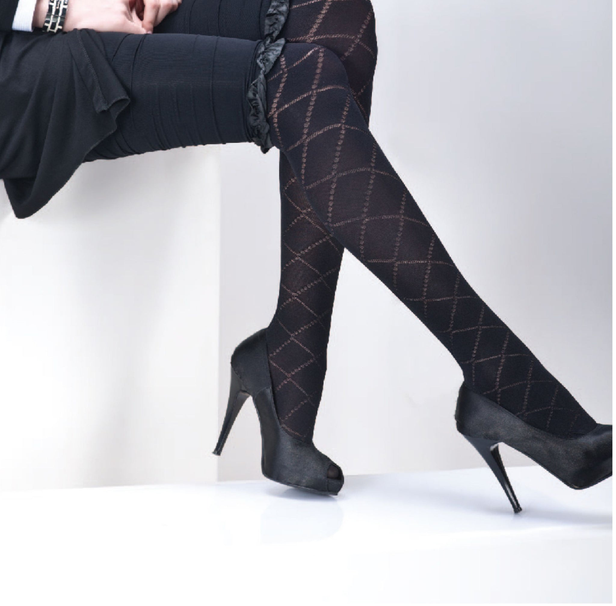 Fashion Party Style, Opaque 80 Den Patterned, Reinforced Toe Pantyhose