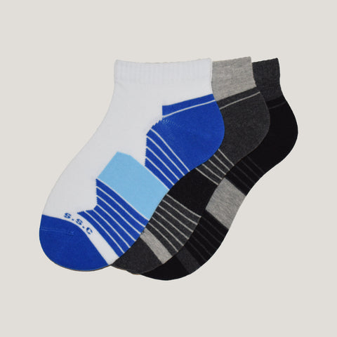 3-Pack Men, No-Show Patterned, Sport Cotton socks