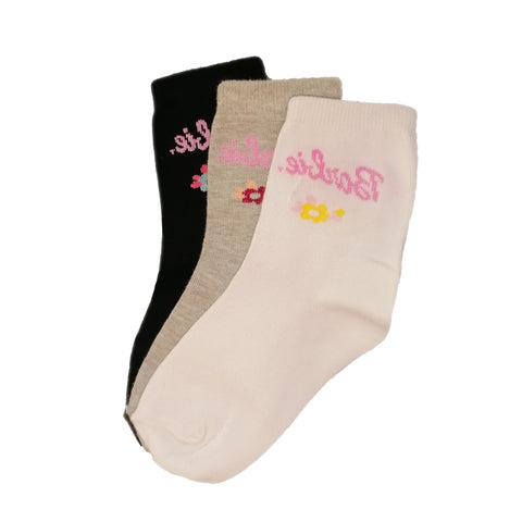 3-Pack Girls, Crew patterned Sport Cotton, socks