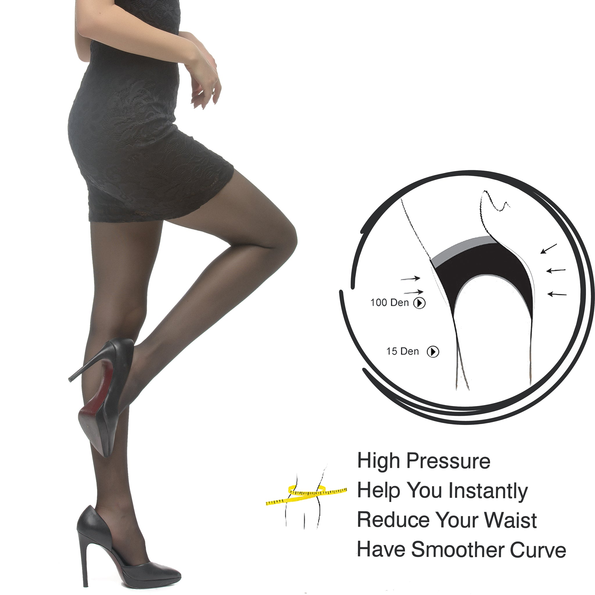 Slip Corset Tight, Ultra Sheer 15 Den Silk Reflections, Reinforced Toe