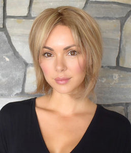 "6""- 8"" Wefted Noëlle - Classic Blonde Bob, Virgin Human Hair Topper"