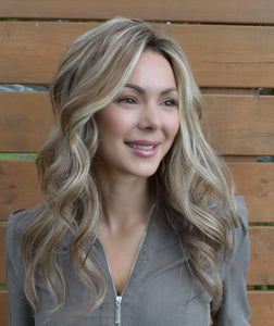 "18"" Wefted-Noëlle - Blonde Bombshell, Virgin Human Hair Topper"