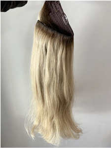 "18"" Double Drawn, Remy, Dusty Platinum - Halo Hair Extension"