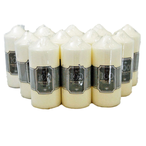 Pack Of 12 Church Candle 100 Hour Ivory Wedding Non Drip Candle Non Scented Classic Pillar