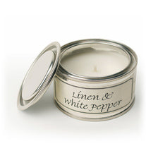 Pintail scented candle filled tin linen and white pepper fragrance
