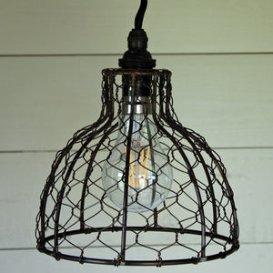 Vintage bell chicken wire pendant light shade