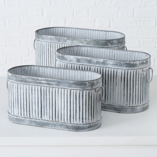 Houghton Vintage Style Oval Zinc Trough Planter