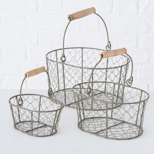 Hereford Wire Kitchen Basket With Wooden Handle