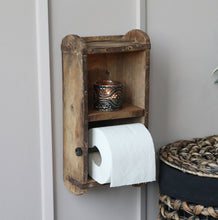 Old wooden brick mould toilet roll holder