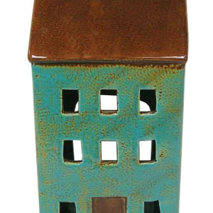 Ceramic Blue House Tea Light Lantern