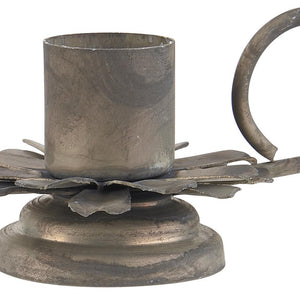 Danish vintage style metal dinner candle holder with handle