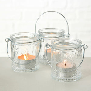 Set of 3 vintage style hanging glass tea light holder
