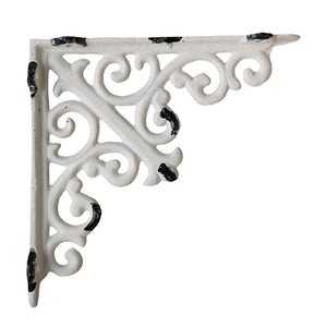 French vintage blanc white metal shelf bracket