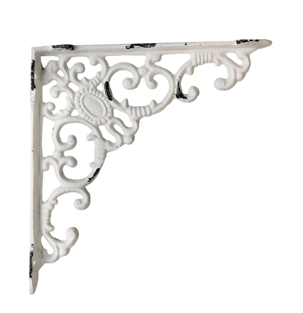 French vintage white metal shelf bracket 205mm