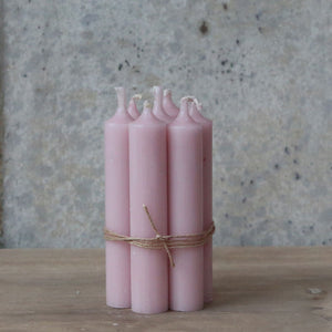 Hand Tied Bundle Danish Powder Pink Short Dinner Candle