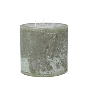 Danish Rustic Three Wick Olive Large Pillar Candle