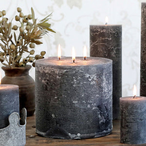 Danish Rustic Three Wick Coal Grey Large Pillar Candle