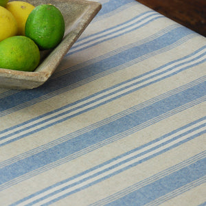 Blue union stripe linen oilcloth