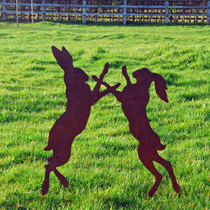 Boxing Hares Rusted Metal Garden Art