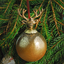 Laquered Glass Stag Christmas Bauble